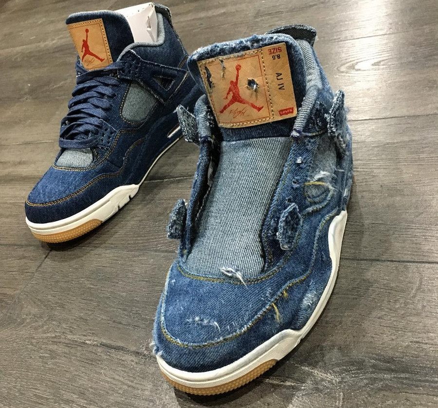 Levis x Air Jordan 4 Retro Distressed Denim (jeans déchiré) (3)