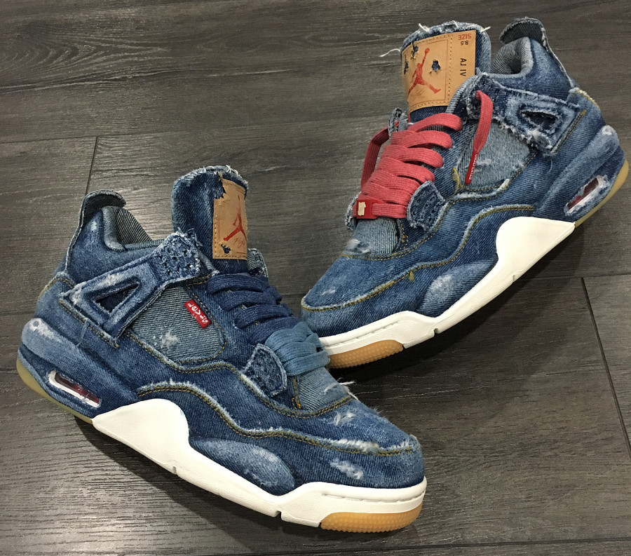 Levis x Air Jordan 4 Retro Distressed Denim (jeans déchiré) (4)