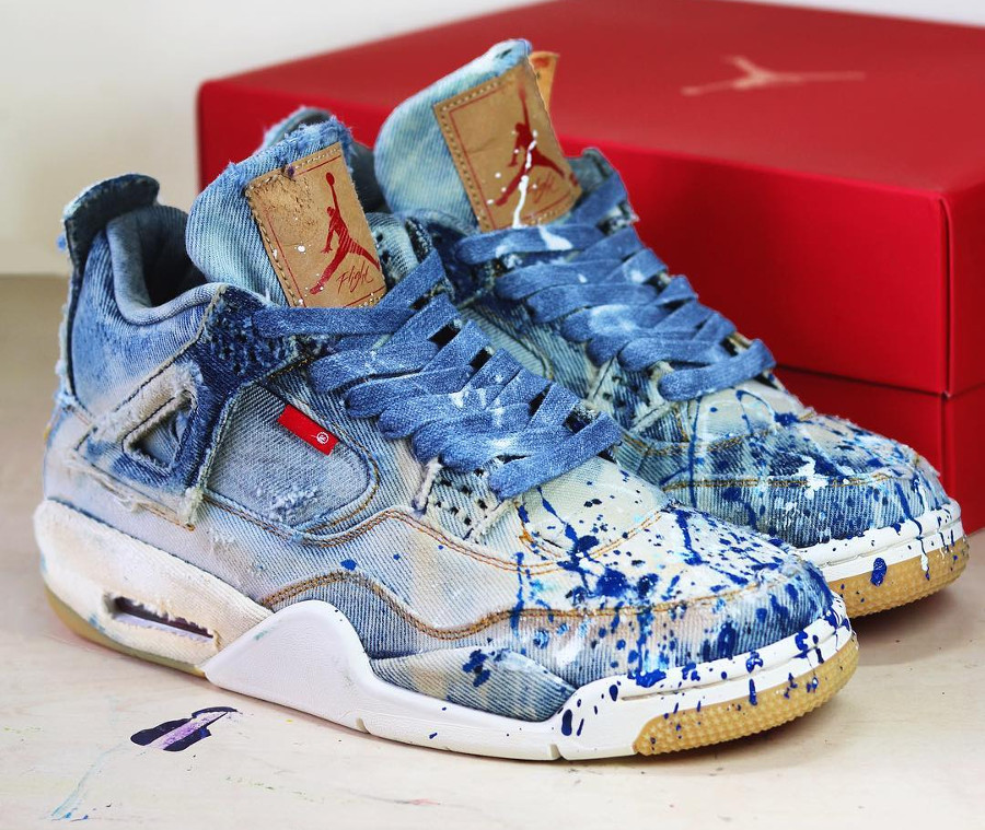 Levi's x Air Jordan 4 Retro Painted Denim (couverte de peinture)