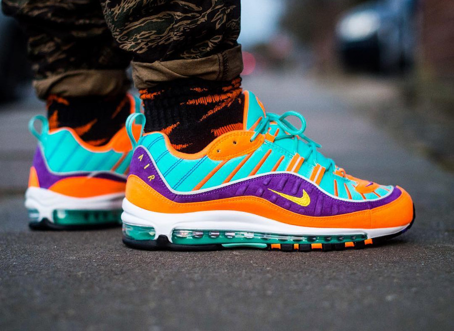 Nike Air Max 98 QS Cone on feet - @sandoobie