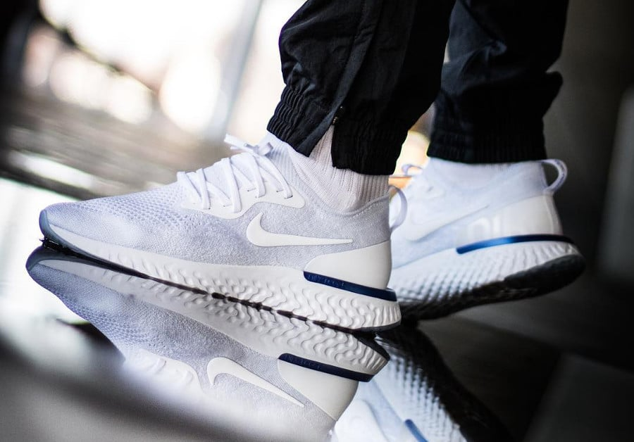 Nike Epic React Flyknit White Racer Blue AQ0067-100 (2)