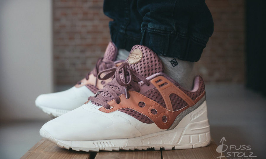 Saucony GRID SD HT Red Tan Riverstone - chaussure rétro homme