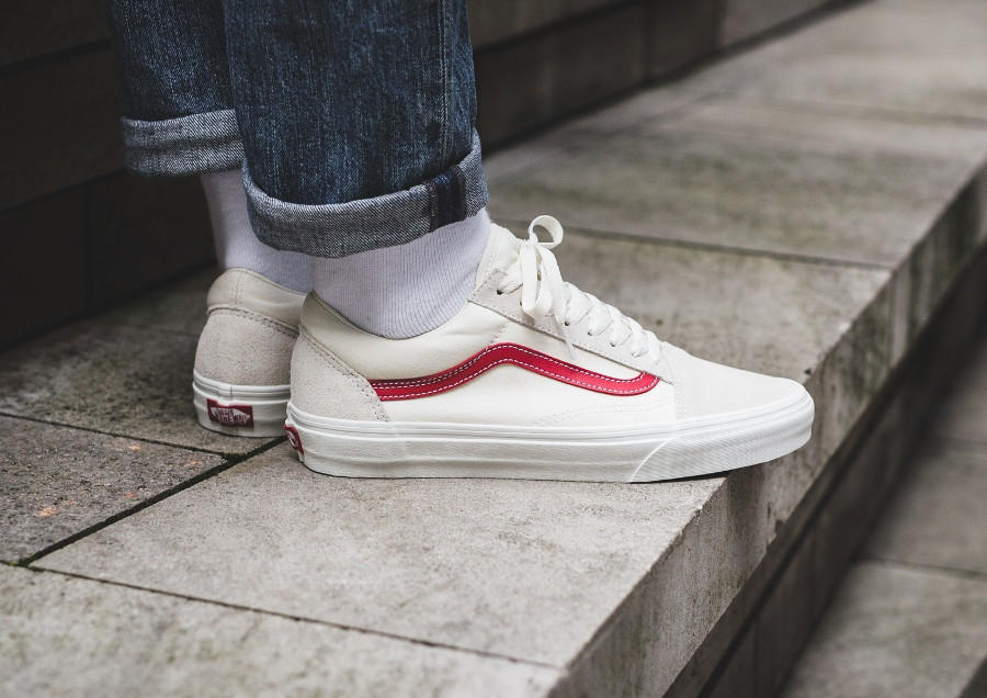 Vans Old Skool Vintage White Rococco Red - chaussure de skate homme