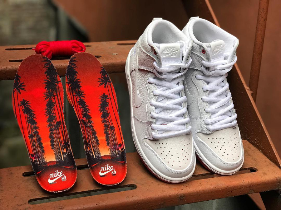 Kevin Bradley x Nike Dunk High Pro SB blanche - chaussure montante de skate homme