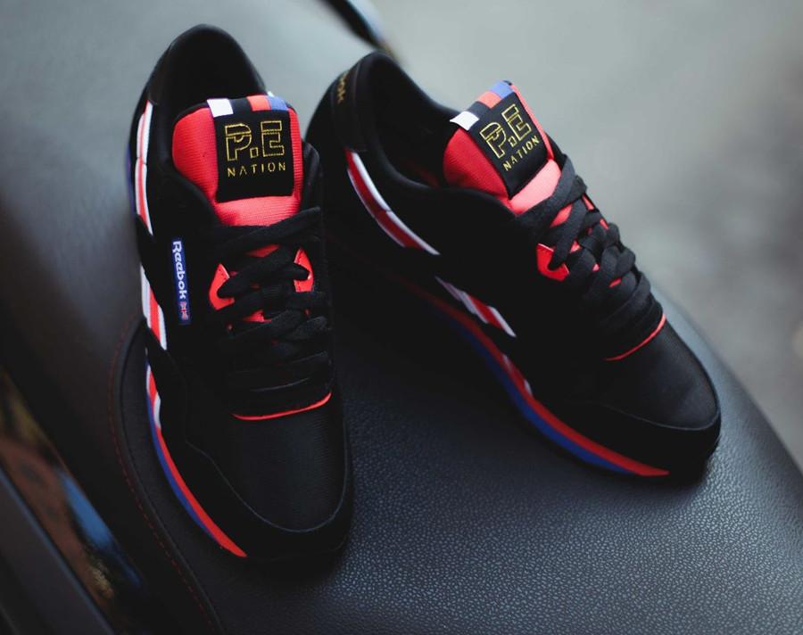 Chaussure P.E Nation x Reebok Classic Nylon noire black red (femme)