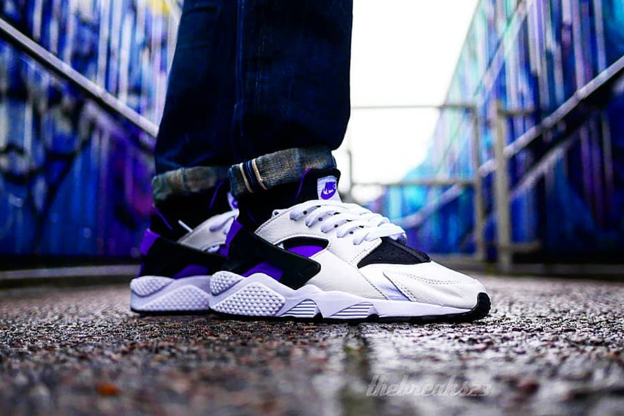 Nike Air Huarache QS 91 Purple Punch on feet - @thebreaks23