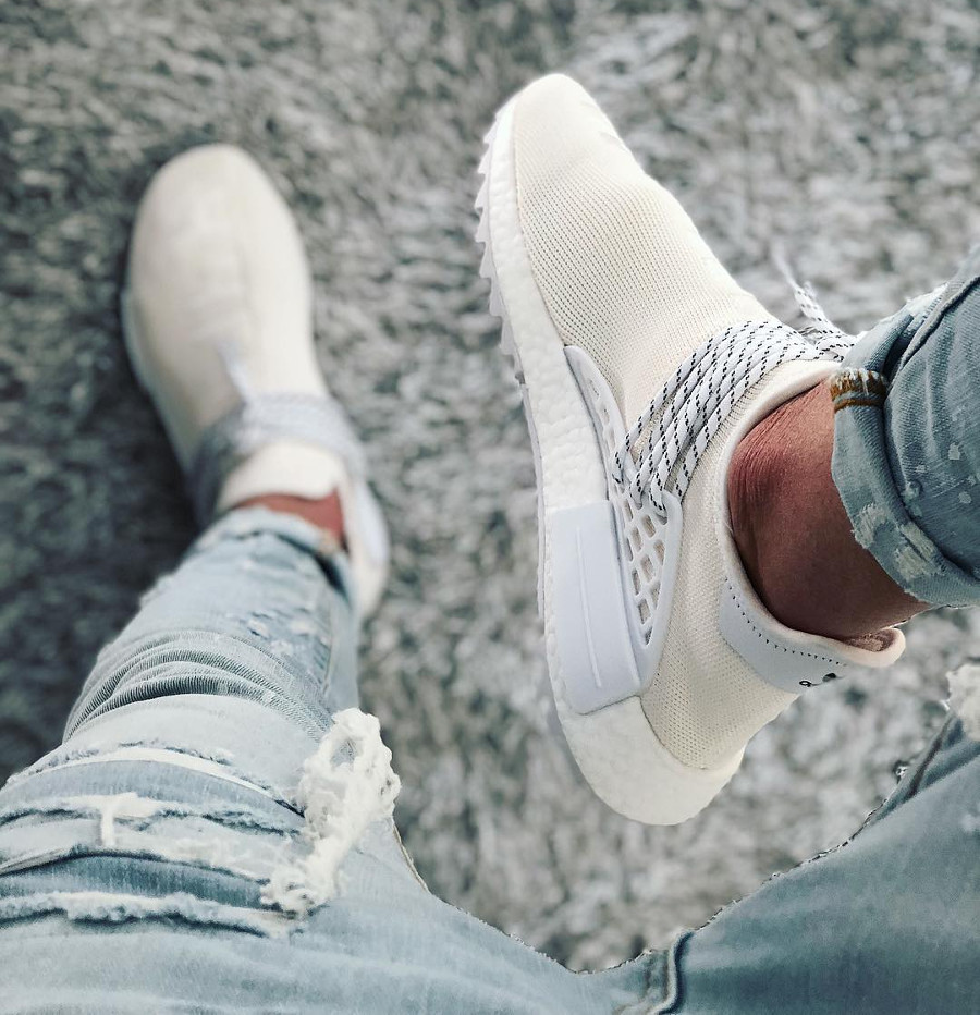 Pharrell Williams x Adidas NMD HU Holi Blank Canvas on feet - @frieze43