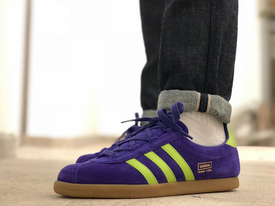 Size x Adias Trimm Star Suede Yellow Purple on feet - @trainers_and_beer