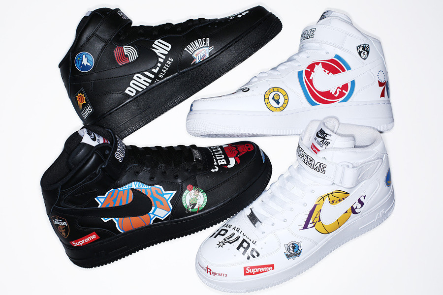 Supreme x Nike Air Force 1 Mid NBA 'White & Black'