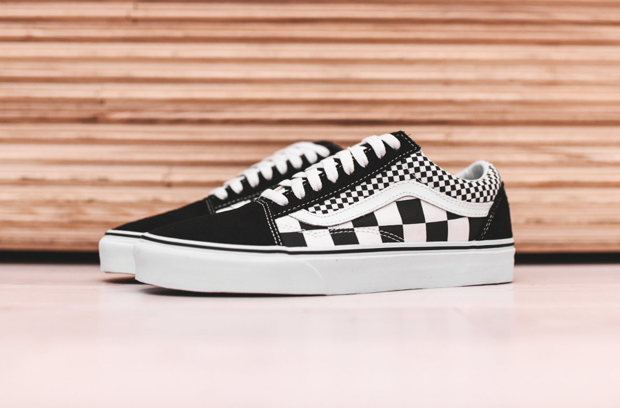 Chaussure Vans Old Skool Mix Checkerboard Damiers noir et blanc