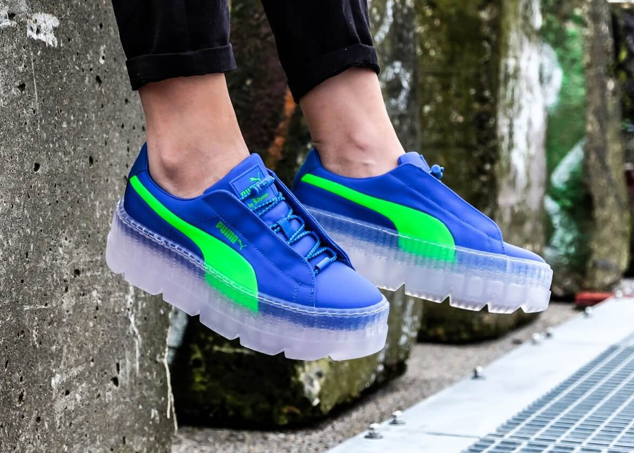 Chaussure femme Fenty Rihanna Puma Suede Cleated Creeper Surf Dazzling Blue Green Gecko' (367681_01)