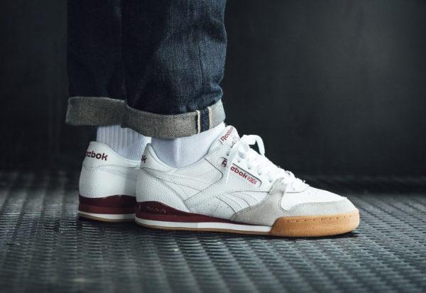 Chaussure Reebok Phase 1 Pro CV en cuir blanc et bordeaux (homme)