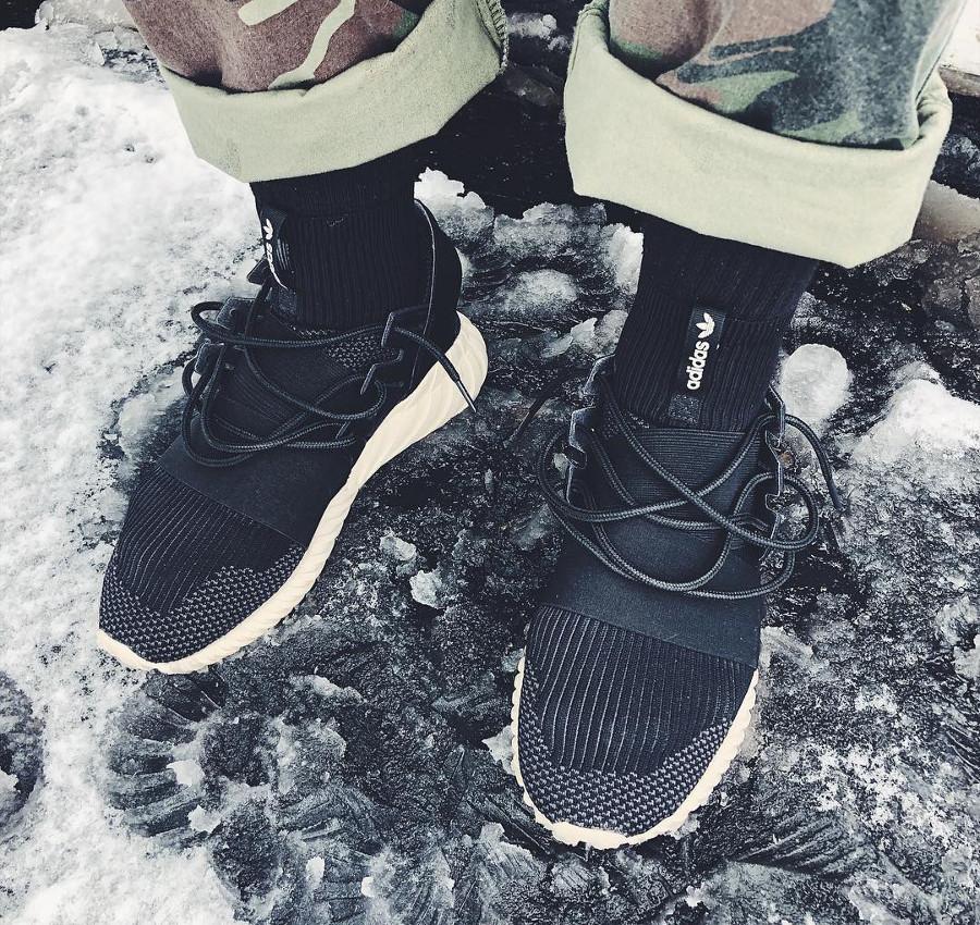 Adidas Tubular Doom PK Black on feet - @jesse_wines