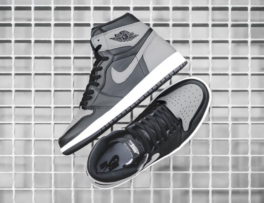 Basket Air Jordan 1 montante Shadow en cuir gris et noir 2018 (1)