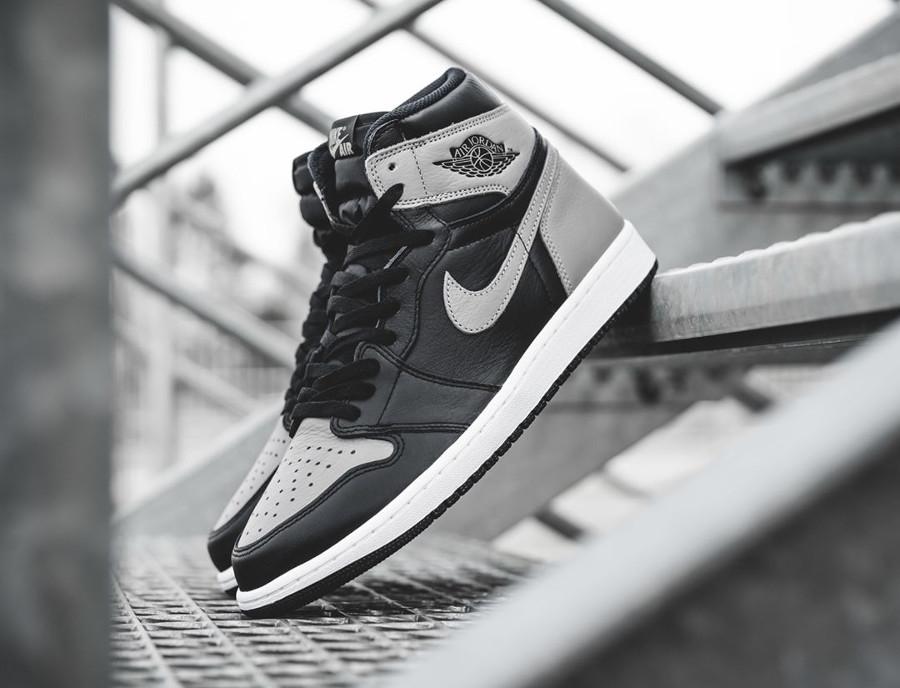Basket Air Jordan 1 montante Shadow en cuir gris et noir 2018 (2)