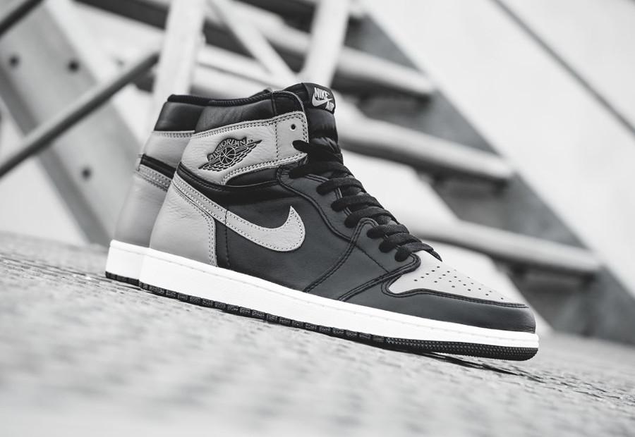 Basket Air Jordan 1 montante Shadow en cuir gris et noir 2018 (3)