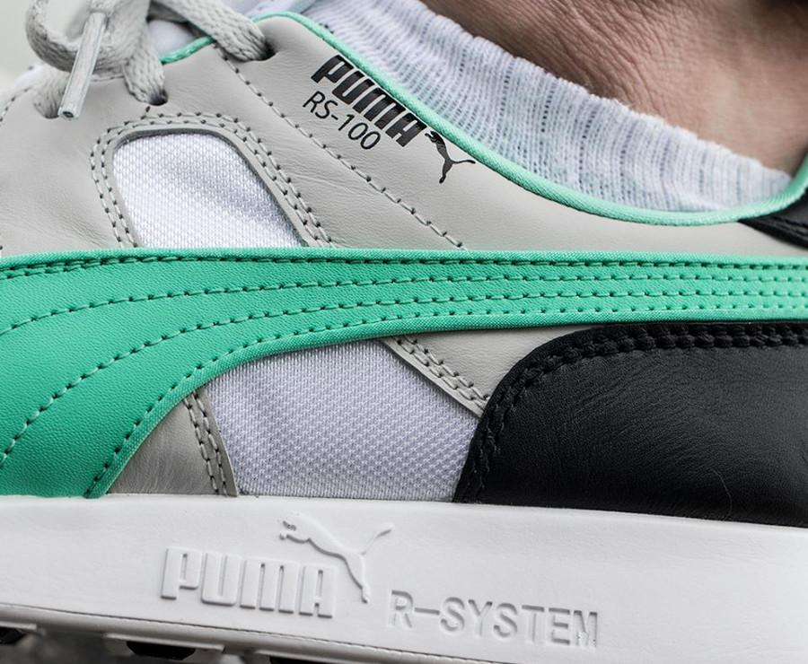 Basket Puma RS-100 Re-Invention 2018 grise blanche et verte on feet (4)