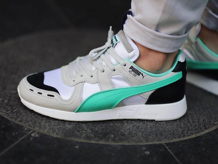 big sale 392ad 54035 Basket Puma RS-100 Re-Invention 2018 grise blanche et verte on feet (