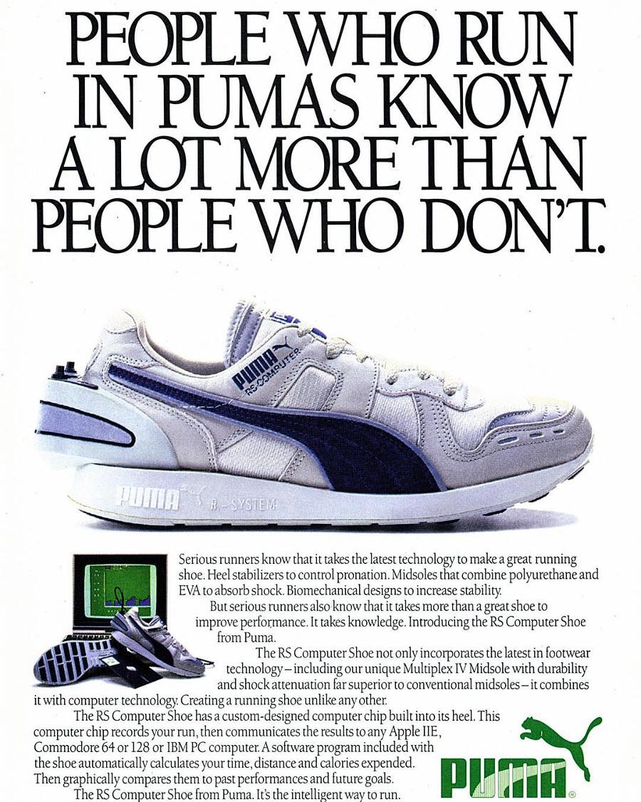 Publicité Puma RS Computer Shoe de 1986