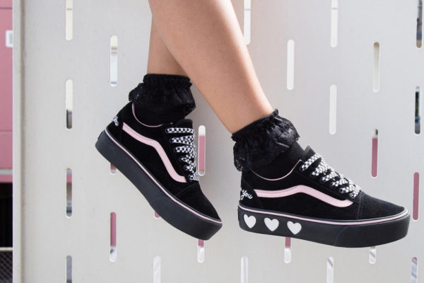 chaussure Lazy Oaf Vans Old Skool Platform Bad For You on feet
