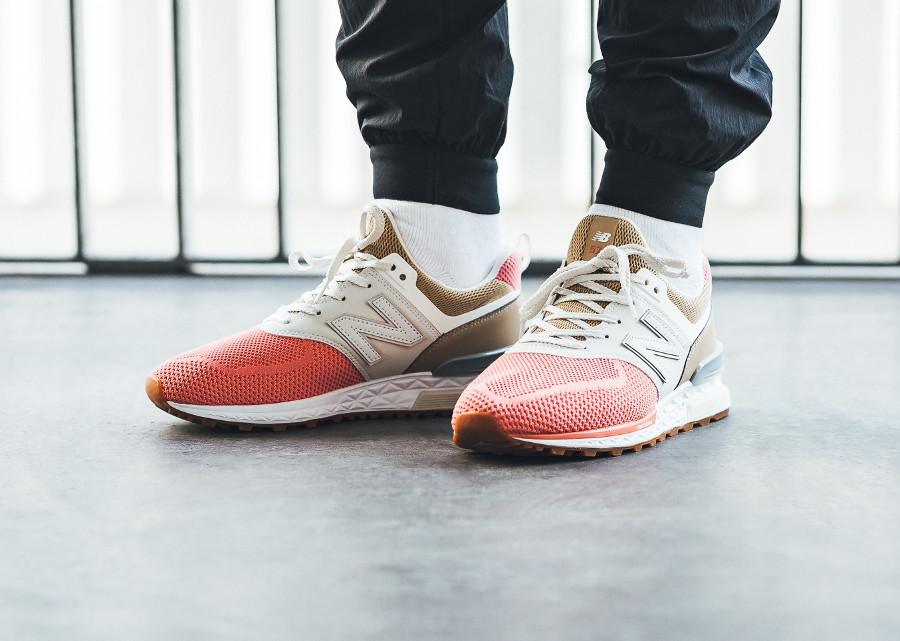 Chaussure New Balance MS574EKF Grey Pink Brown on feet