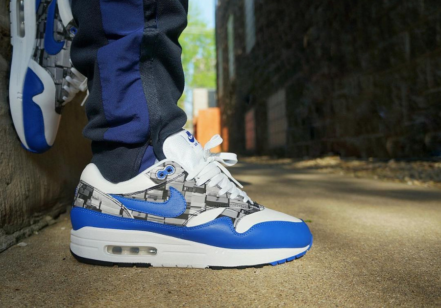 Atmos x Nike Air Max 1 SC Leather Royal Blue 'We Love Nike on feet