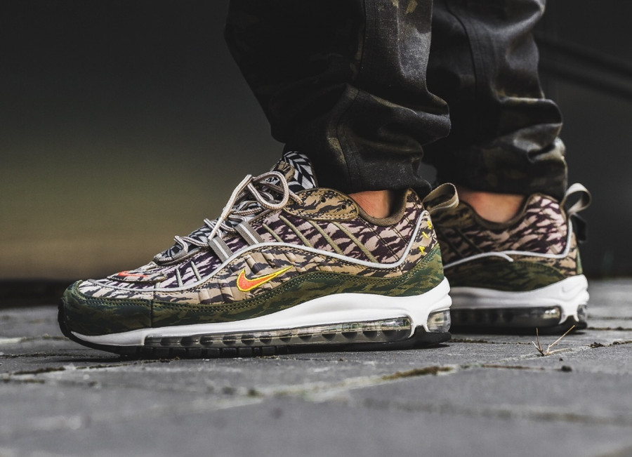 Nike Air Max 98 AOP 'Tiger Camo' Khaki Team Orange