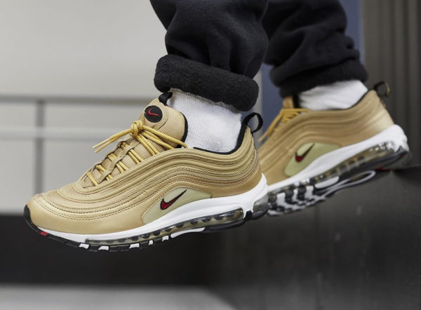 Nike Air Max 97 OG QS Gold Bullet 2018 on feet