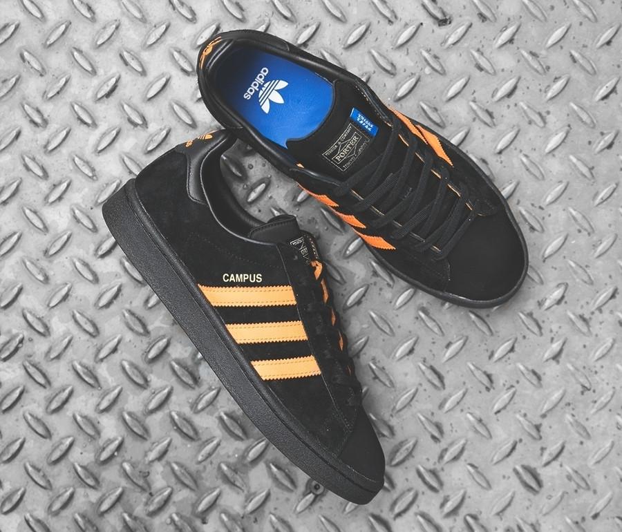 basket-porter-adidas-campus-suede-noir-3-bandes-orange-édition-limitée (1)
