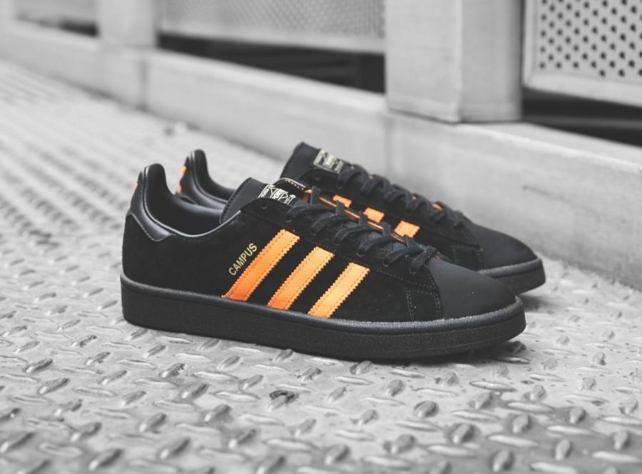 basket-porter-adidas-campus-suede-noir-3-bandes-orange-édition-limitée (2)