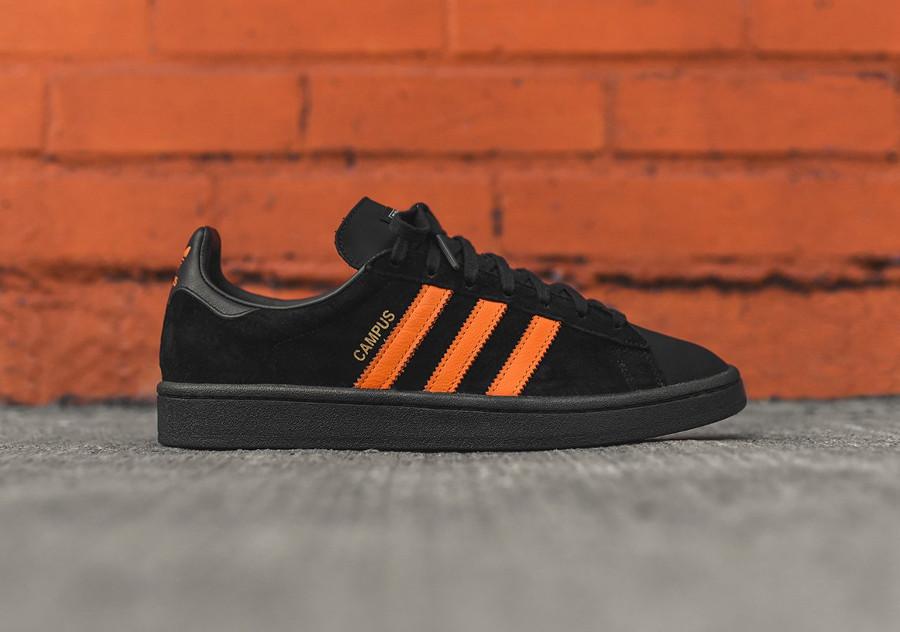 basket-porter-adidas-campus-suede-noir-3-bandes-orange-édition-limitée (4)