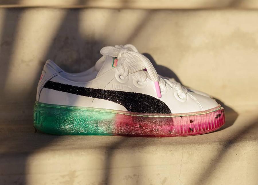 chaussure-sophia-webster-puma-basket-platform-semelle-compensée-watermelon-dégradé-pastèque