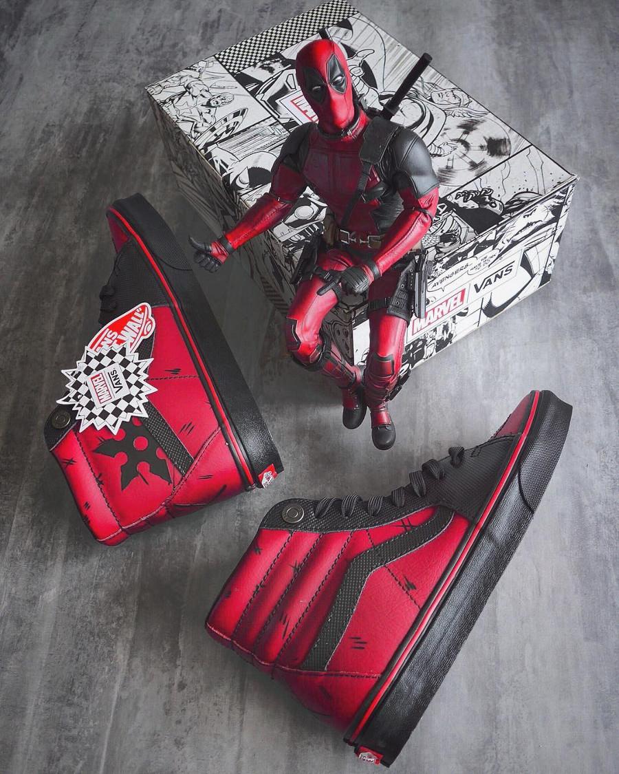 Vans SK8 Hi Marvel Deadpool Avengers Black Red