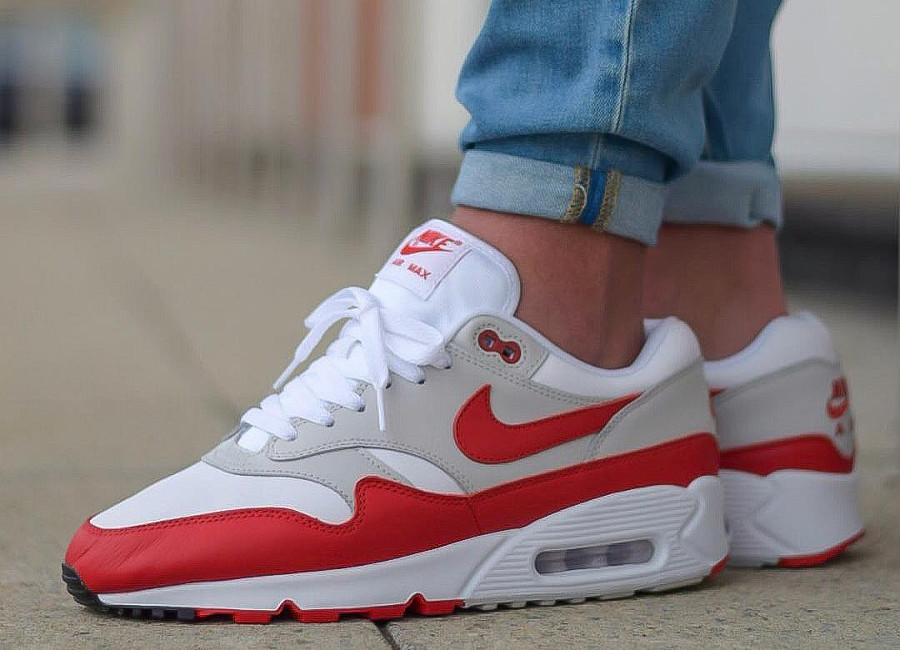 Nike Air Max 90/1 Premium 'White Sport Red'