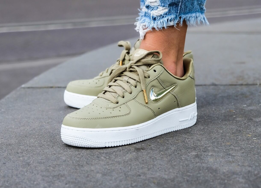 Nike Air Force 1 '07 PRM LX Jewel Swoosh Neutral Olive on feet