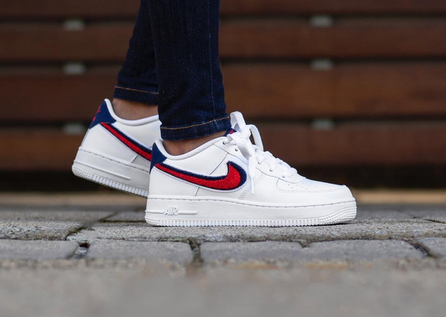 size 40 a17f1 a74d4 nike-air-force-one-chenille-swoosh-white-on-