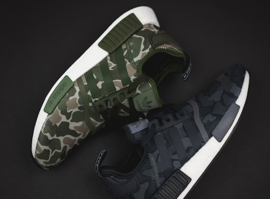 Adidas NMD R1 Duck Camo 'Sesame Green & Black Grey'