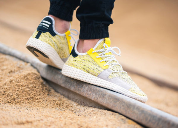 Pharrell Williams x Adidas Afro Tennis HU Yellow Black on feet