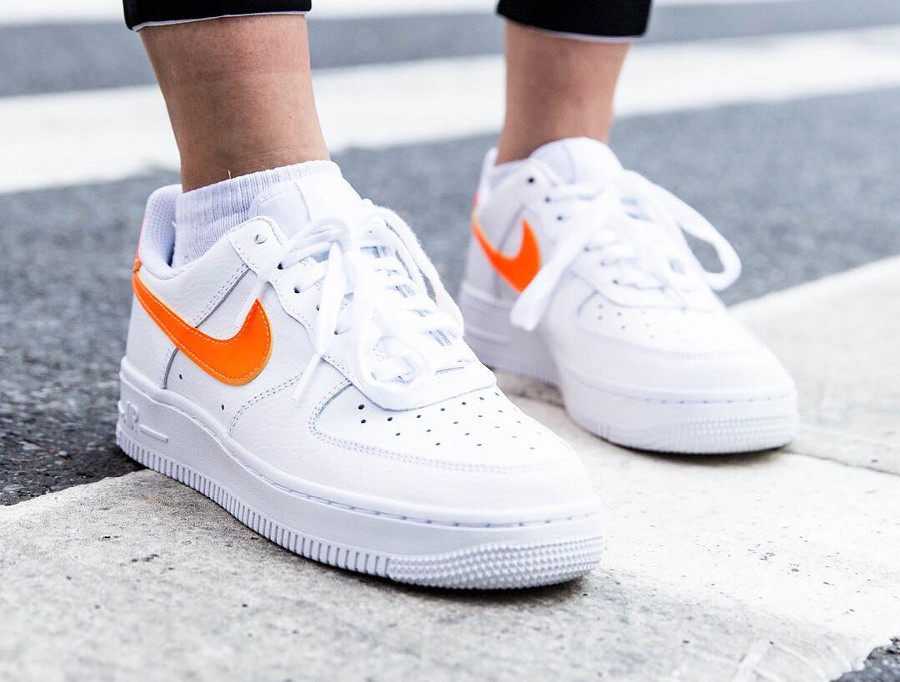 acheter Air Force 1 07 Patent White Orange Swoosh