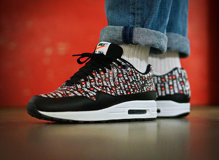 Nike Air Max 1 Premium AOP 'Just Do It' Black Orange