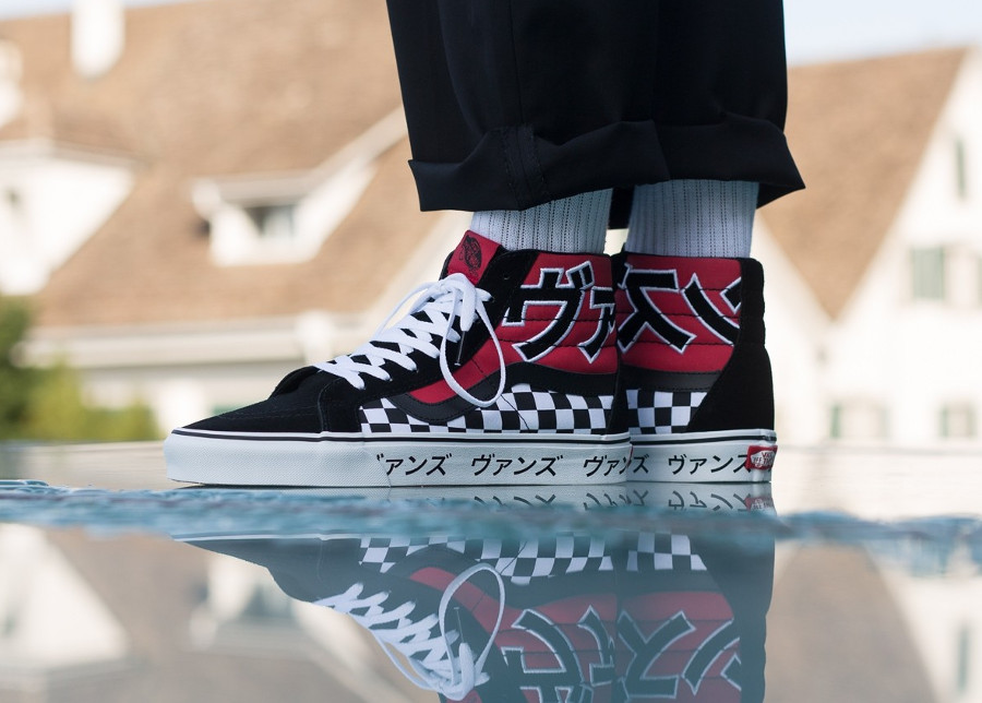 a7c54eadb3f5 Basket Vans UA SK8 Hi Reissue Racing Red Japanese Type on feet (VA2XSBSJY )
