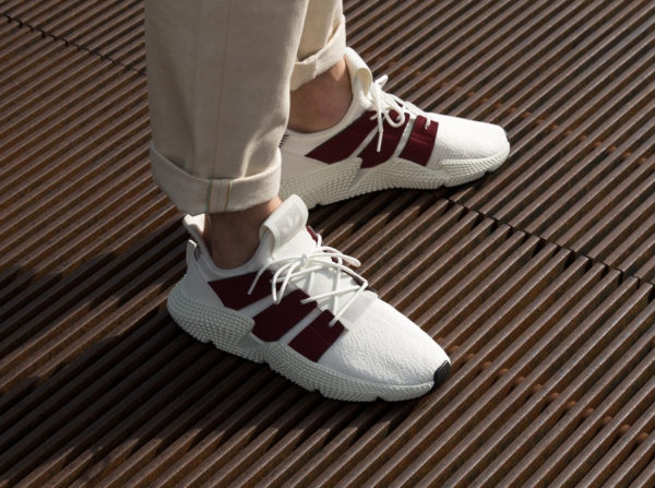 chaussure Adidas Prophere 'Cloud White Night Maroon' on feet (D96658)
