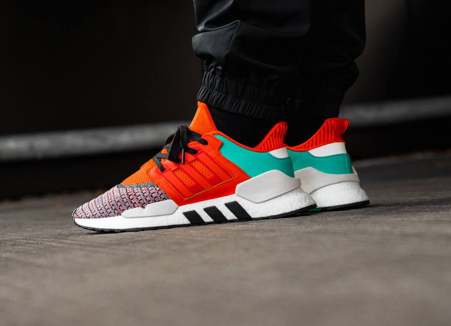 Adidas Equipment Support 91 2018 Bold Orange Multi Color on feet (2)