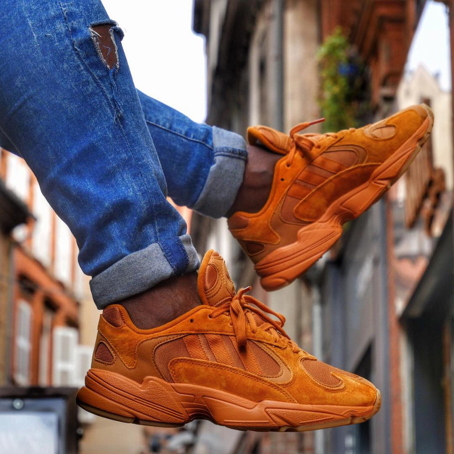 Adidas Falcon Yung 1 Ochre toute orange on feet