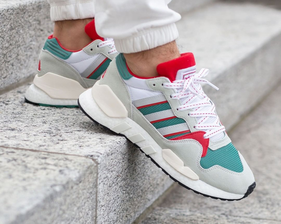 Adidas Originals ZX 930 Equipment blanche grise verte et rouge (4)