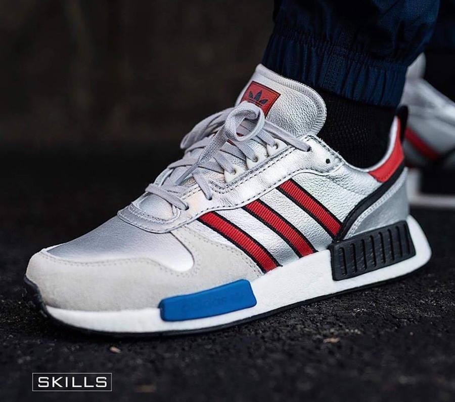 Adidas Rising Star x NMD R1 gris argent on feet G26777 (2)