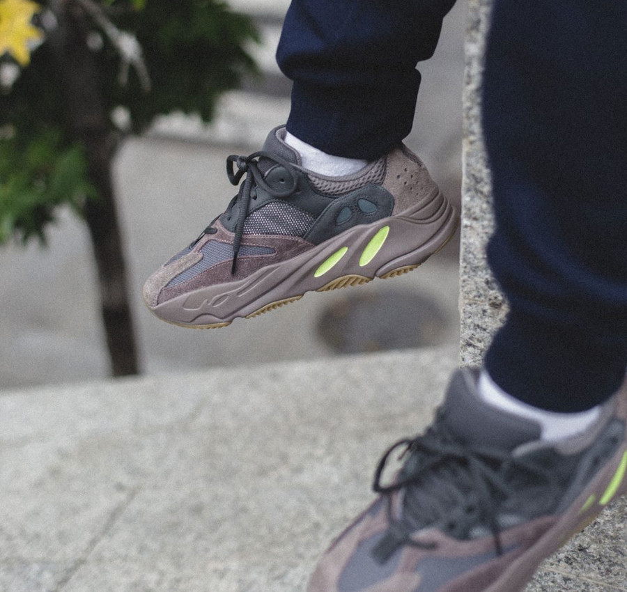 Kanye West x Adidas Yeezy 700 Boost 'Mauve' on feet (1)