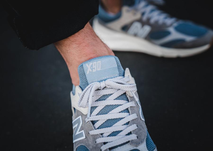 New Balance X90 grise blanche et bleue pour homme (5)
