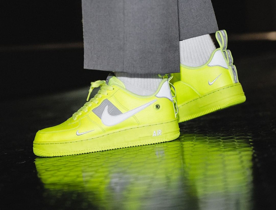 Nike Air Force 1 '07 LV8 Utility Fluo Volt on feet (AJ7747-700) (1)