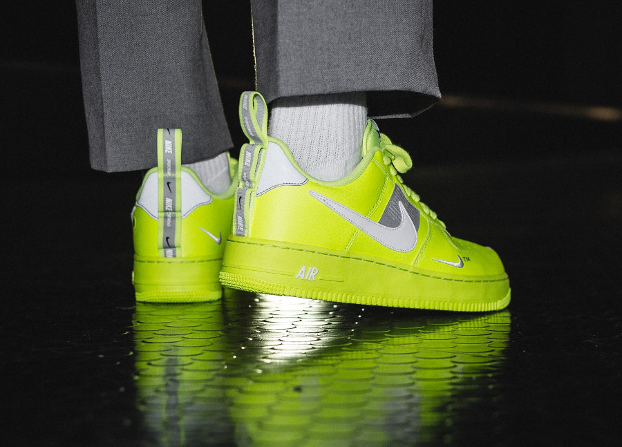Nike Air Force 1 '07 LV8 Utility Fluo Volt on feet (AJ7747-700)